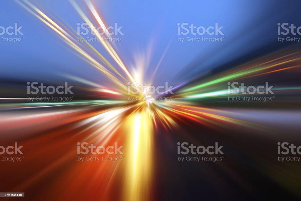 speed motion on night road stock photo
