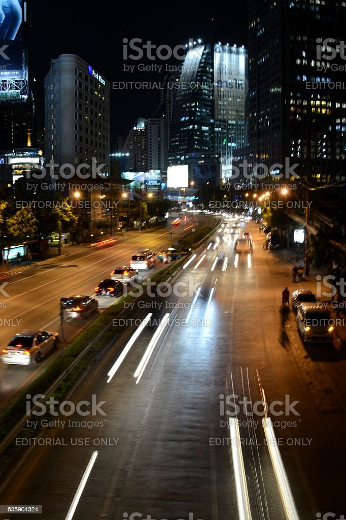 Speed motion on Ratchadapisek road, Sukhumvit, Bangkok stock photo