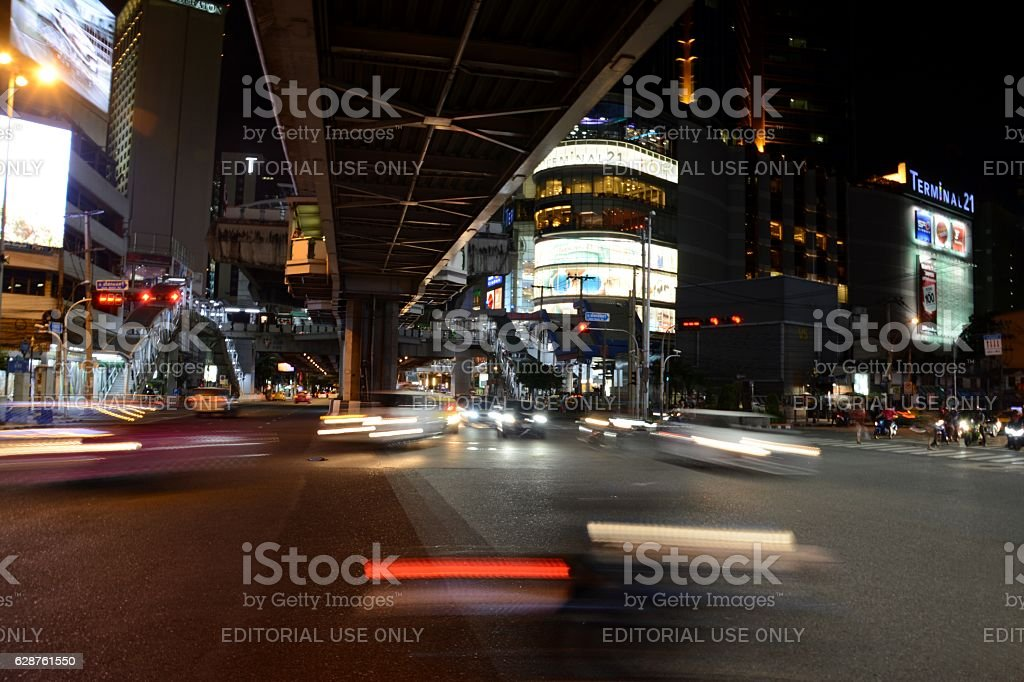 Speed motion on Sukhumvit road, Bangkok, Thailand stock photo