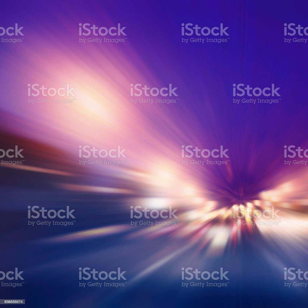 Speed motion on the road at night. stock photo