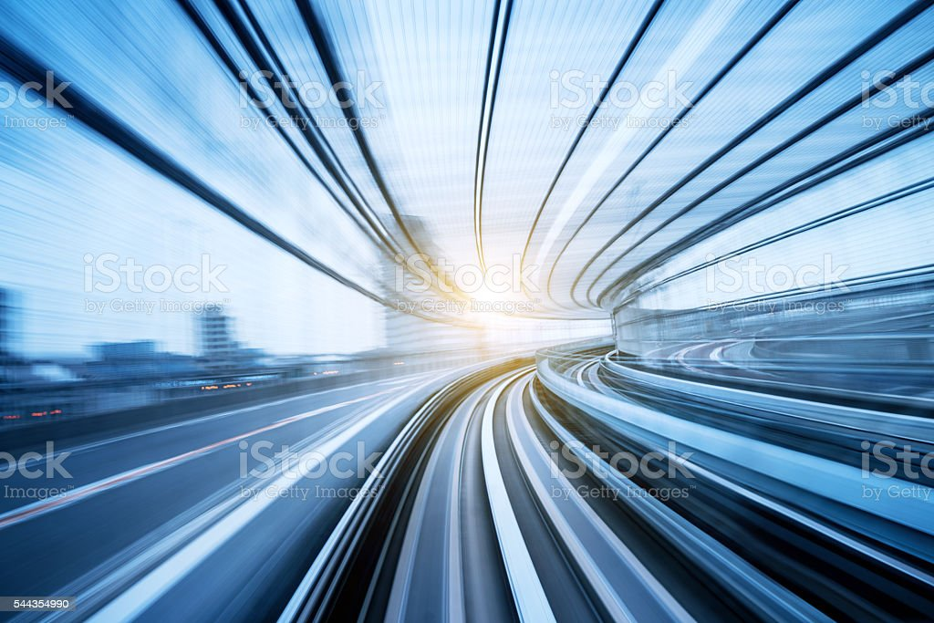 Speed motion through a tunnel stock photo