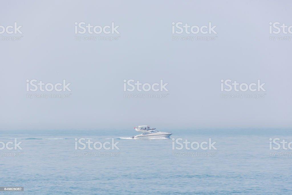 Speed Motor boat at horizon of prince islands at marmara sea in istanbul turkey stock photo