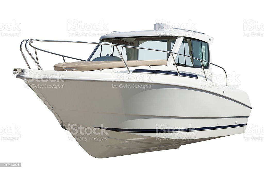Speed motor boat. Isolated over white stock photo