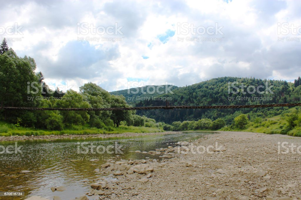 speed mountainous river in Carpathian mountains stock photo