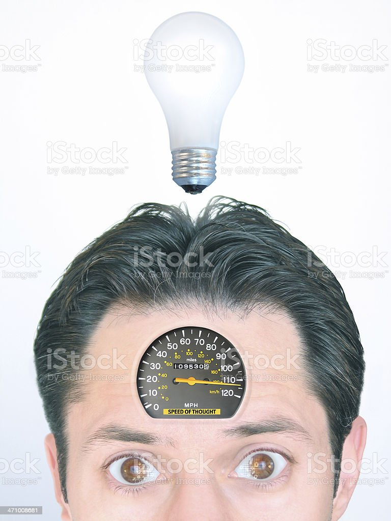Speed of Thought: Man with Speedometer Embedded in Forehead royalty-free stock photo