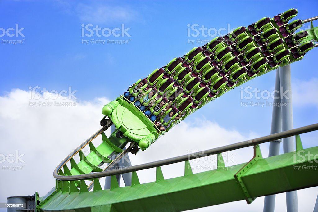 Speed on a rollercoaster stock photo