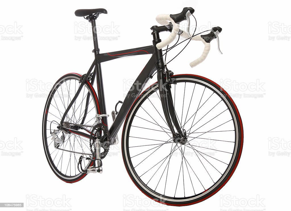 Speed racing bicycle on white background stock photo