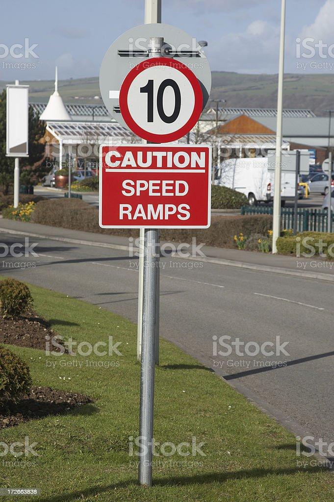 Speed ramp warning stock photo