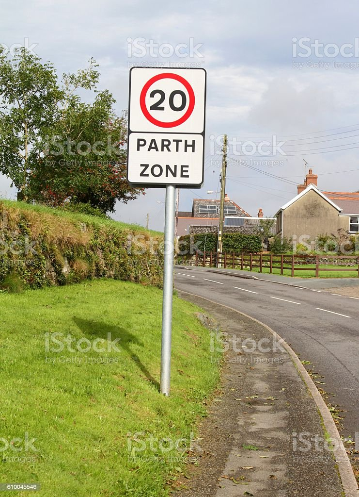 Speed restriction sign stock photo