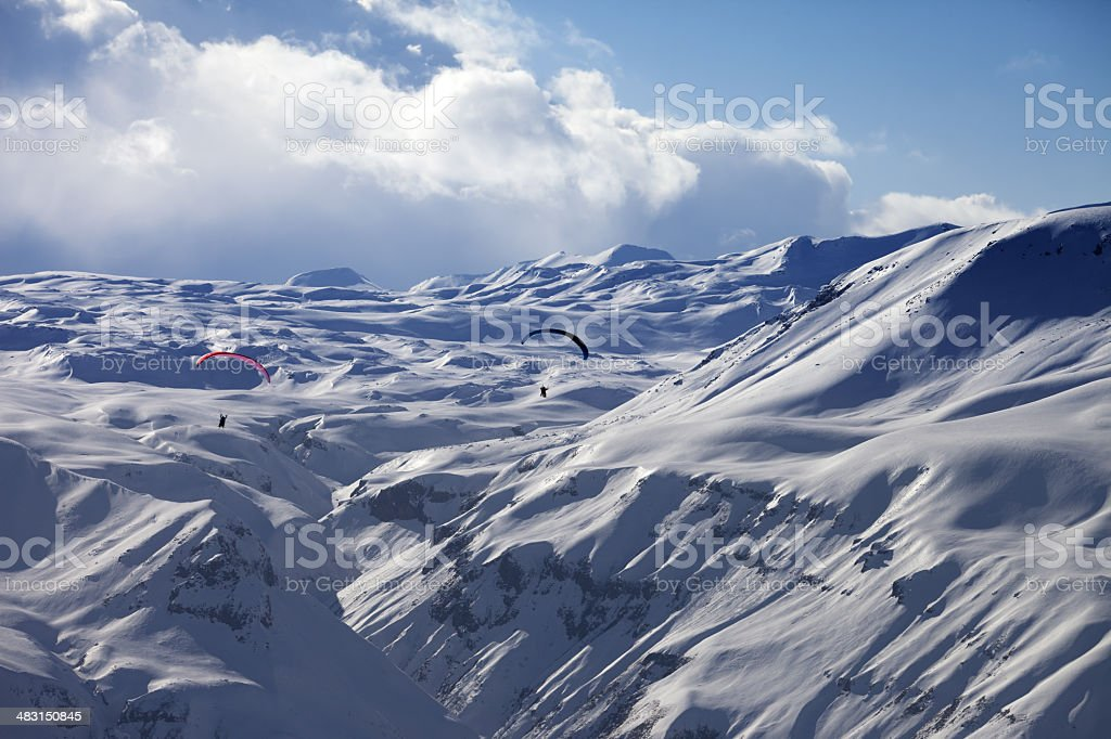 Speed riding in snow mountains royalty-free stock photo