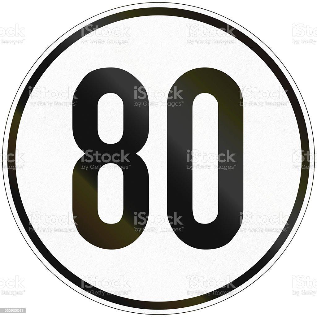 Speed Sign 80 stock photo