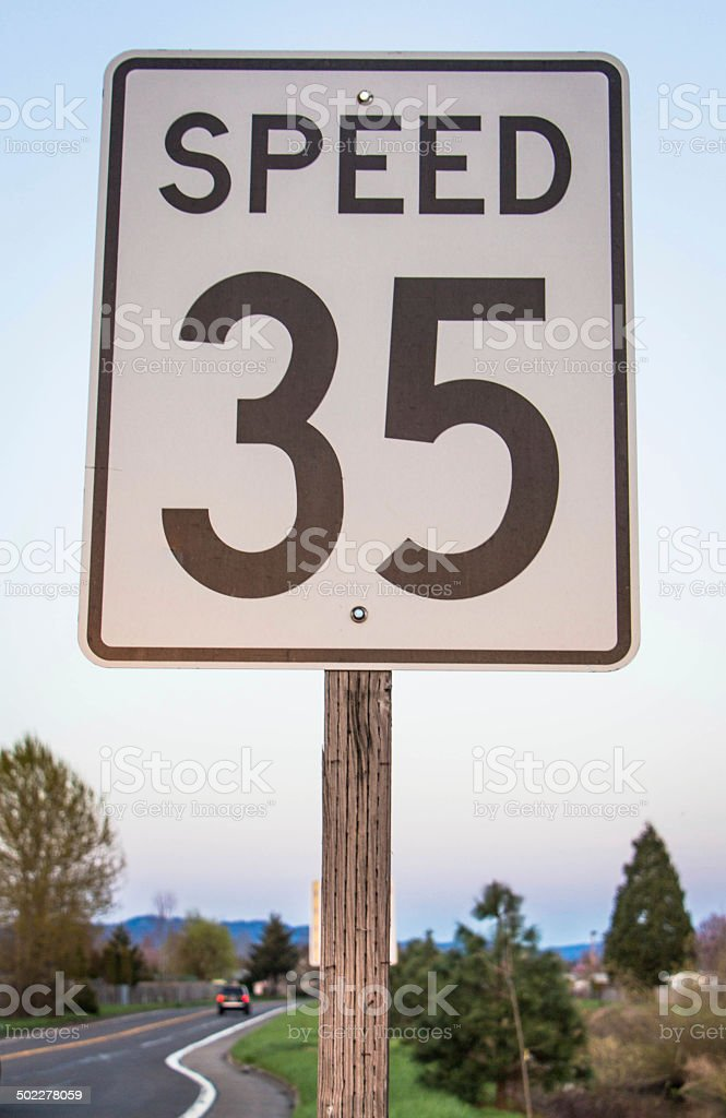 (Thirty Five) 35 MPH Speed Sign stock photo
