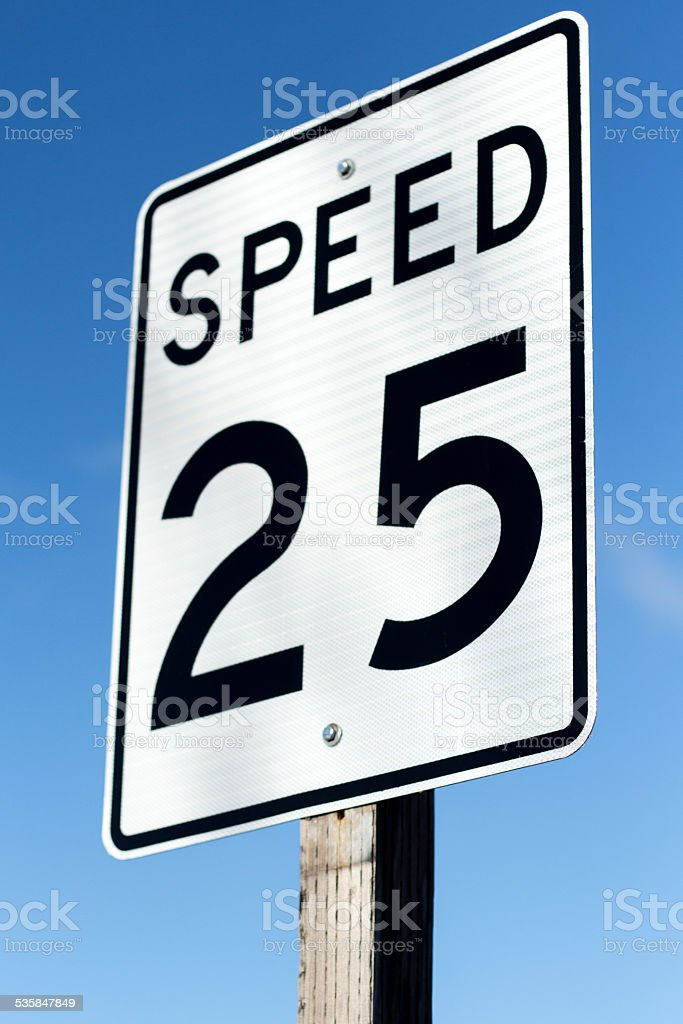 (Twenty Five) 25 MPH Speed Sign stock photo