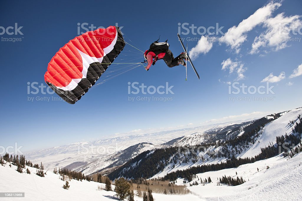 Speed Skier Above Canyon View stock photo