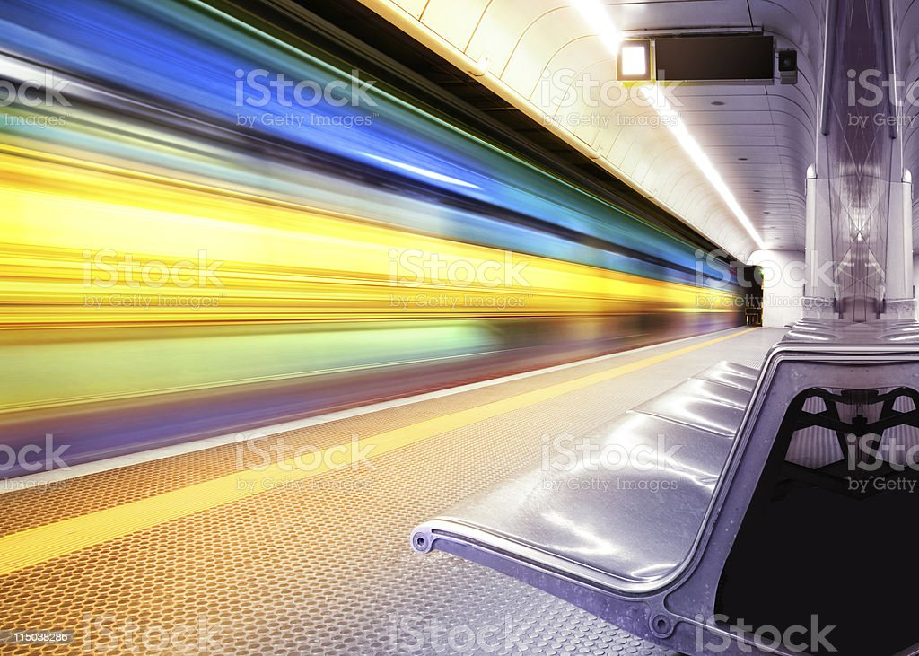 speed train in subway stock photo