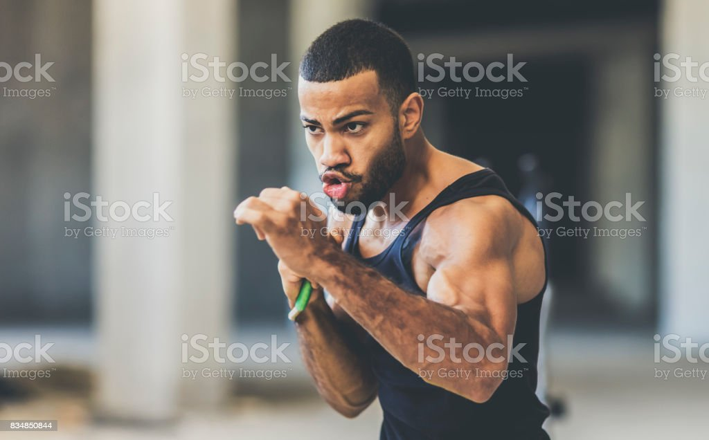 Speed training in an urban gym stock photo