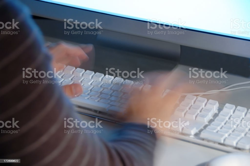 Speed typing on a computer keyboard. royalty-free stock photo