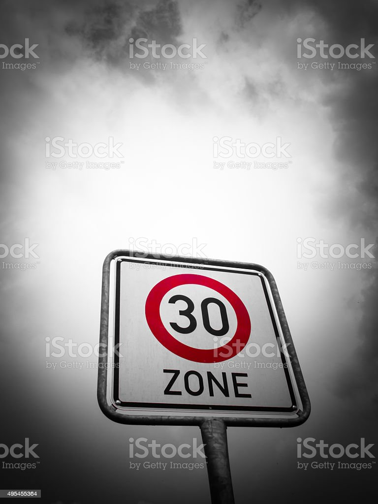 Speed zone sign, speed limit stock photo