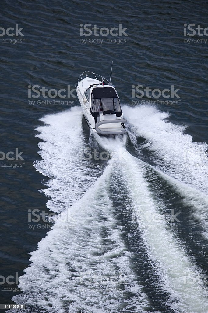 Speedboat Aerial View royalty-free stock photo