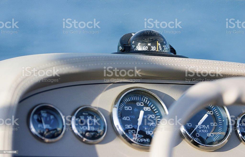 Speedboat cockpit and gauges stock photo