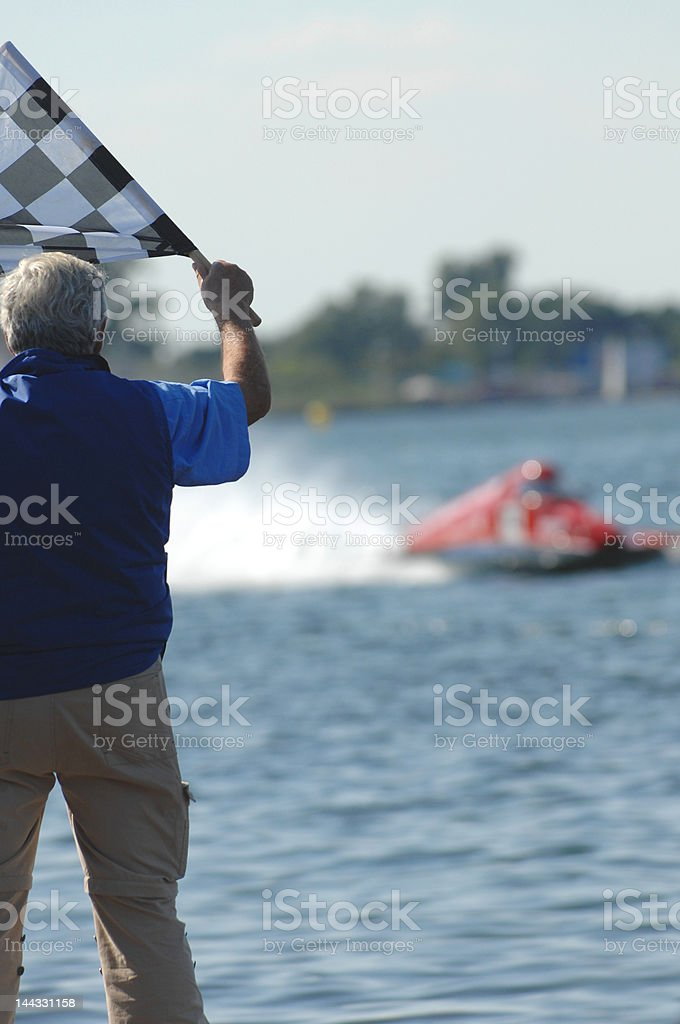 speedboat finish stock photo