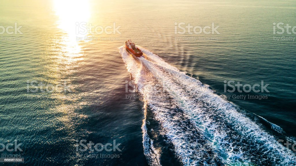 Speedboat goes in the sea stock photo