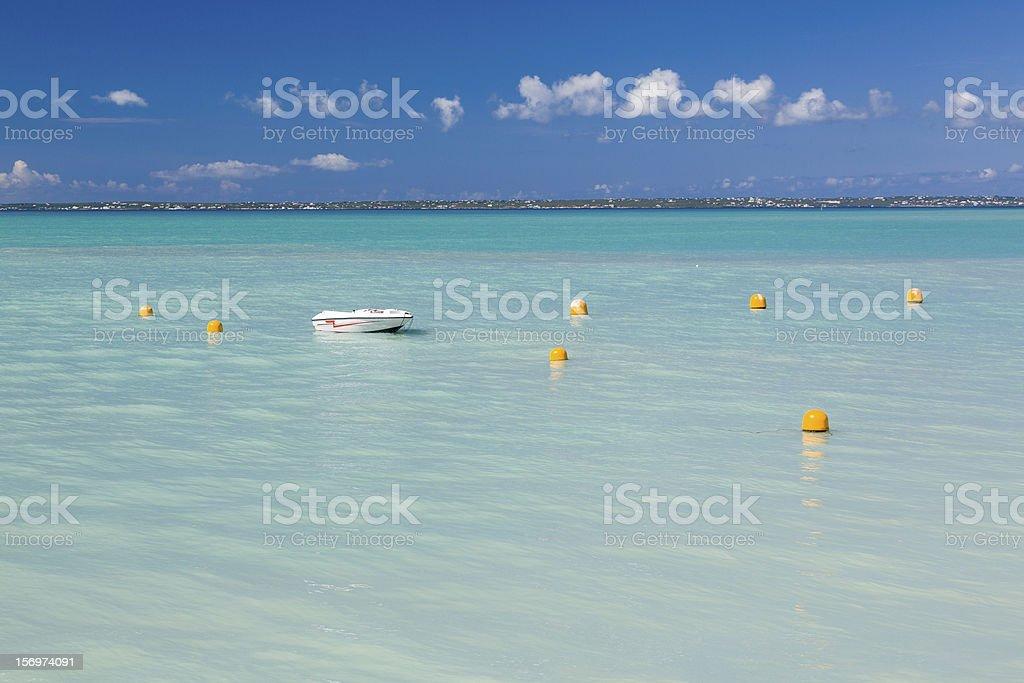 Speedboat in calm sea off Grand Case St Martin stock photo
