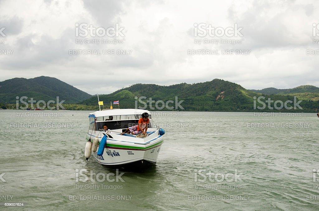 Speedboat mooring at Koh Yao Noi in Phang Nga, Thailand stock photo