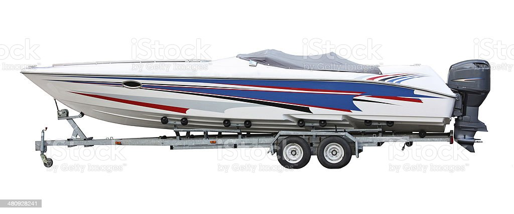 speedboat on the trailer stock photo