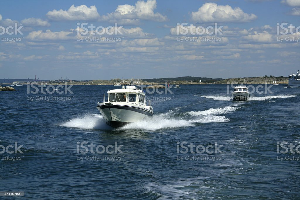 Speedboats in archipelago close to Gothenburg, Sweden. royalty-free stock photo