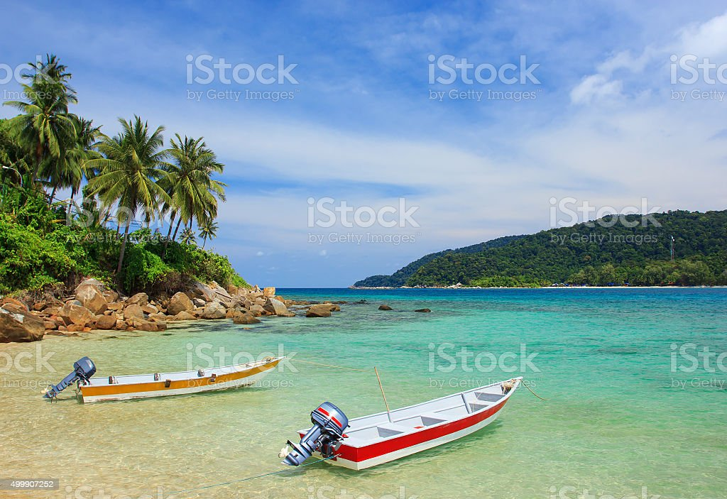 Speedboats on the beach stock photo