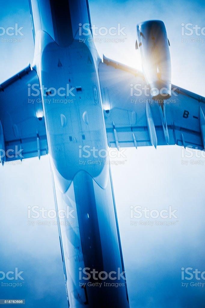 speeding airplane stock photo