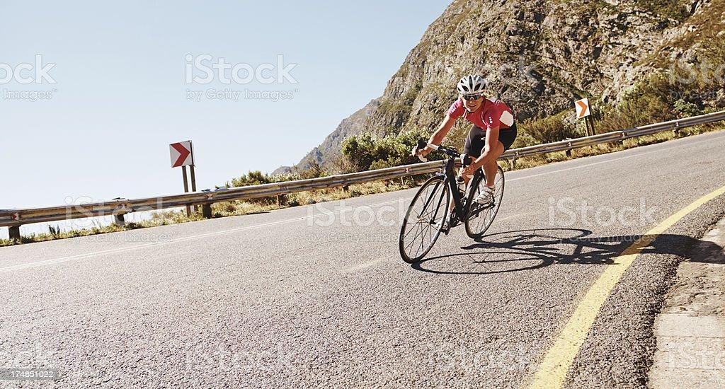 Speeding around the bend royalty-free stock photo