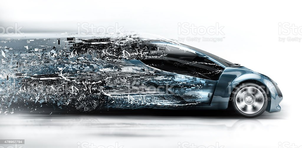speeding car disintegrating stock photo