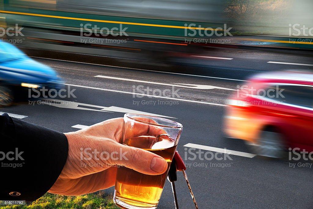 Speeding cars at a crossroad stock photo