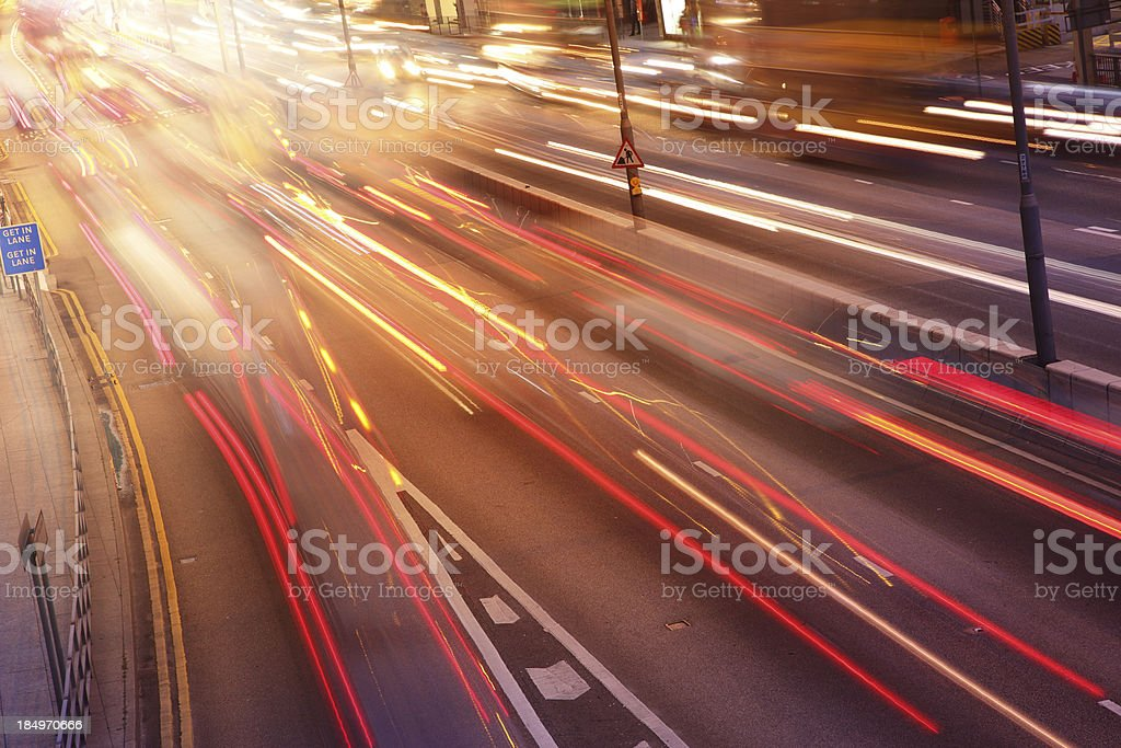 Speeding Cars on a Busy Highway royalty-free stock photo