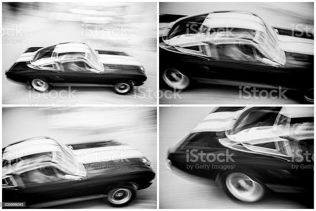 Speeding Classic American Car stock photo