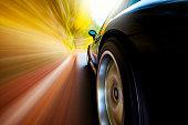 Speeding Driving Apex Sports Car