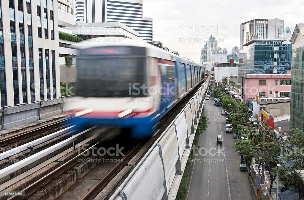 Speeding Elevated Train In Bangkok, Thailand royalty-free stock photo