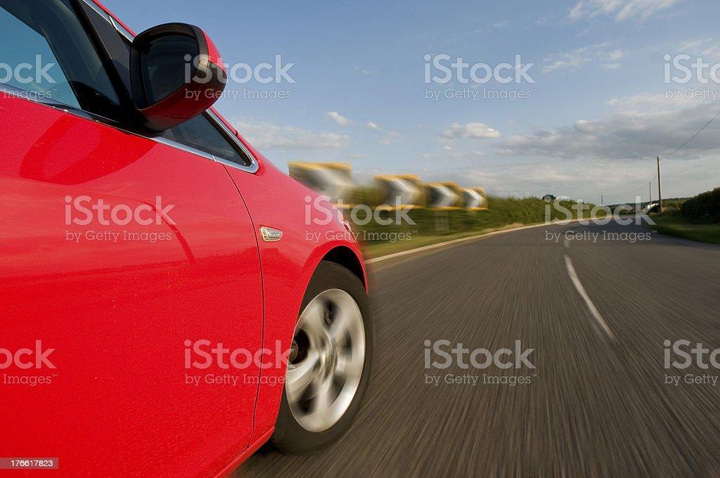 Speeding into a sharp bend stock photo