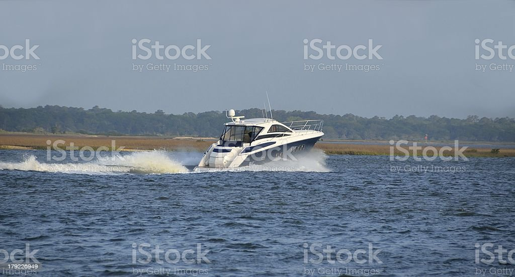 Speeding Motor Yacht royalty-free stock photo