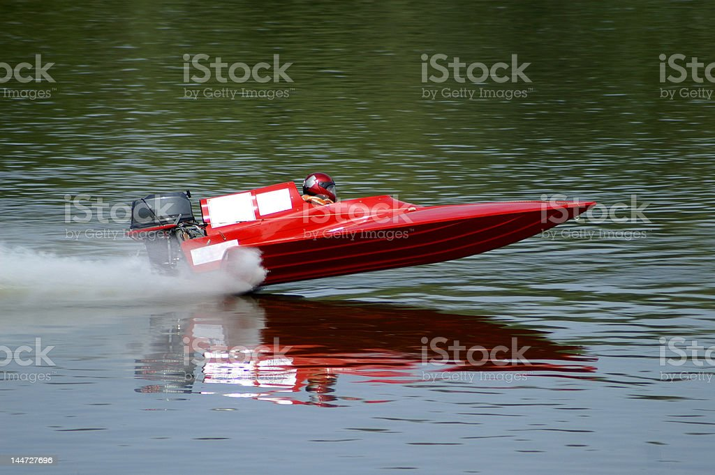 Speeding motorboat stock photo