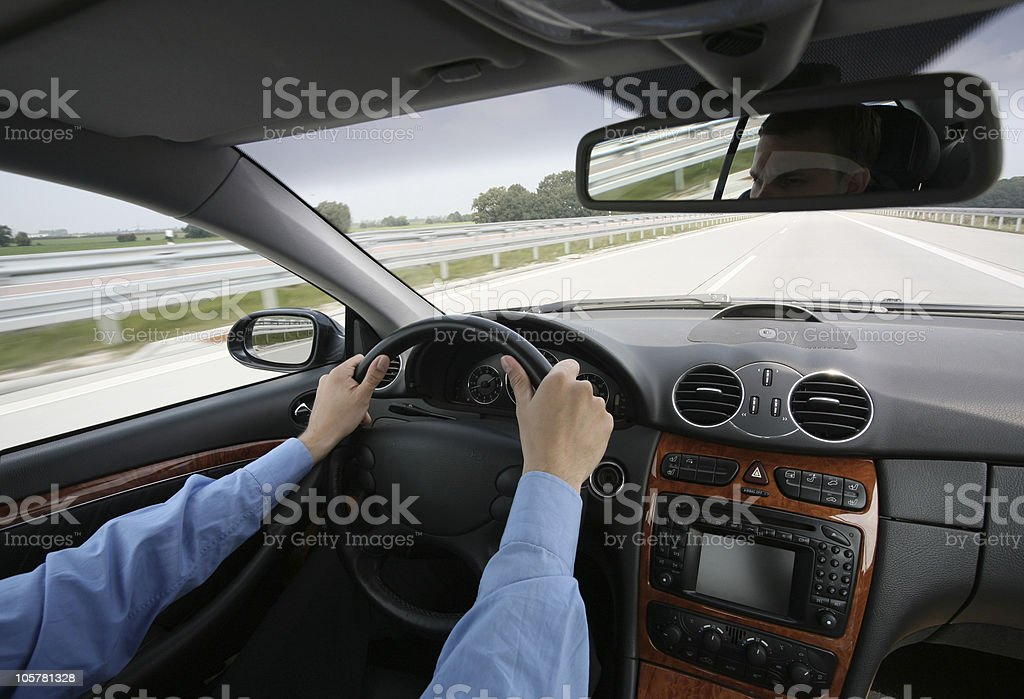 speeding on the highway royalty-free stock photo