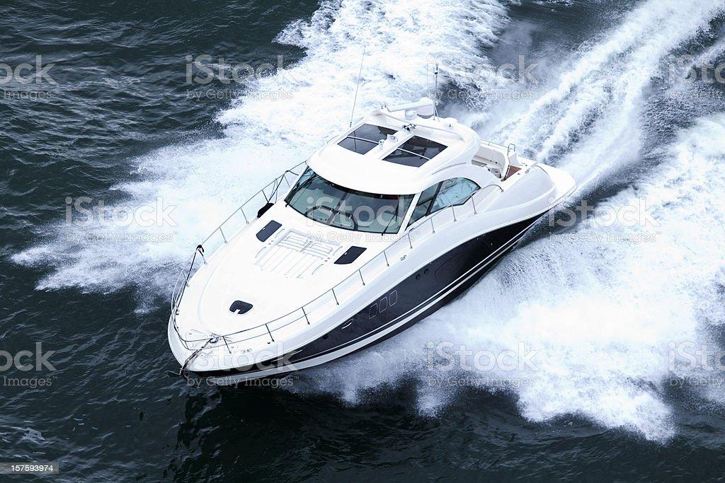 Speeding Powerboat stock photo