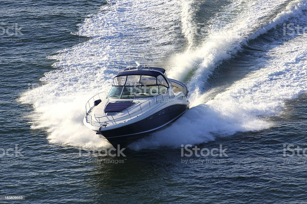 Speeding Powerboat royalty-free stock photo