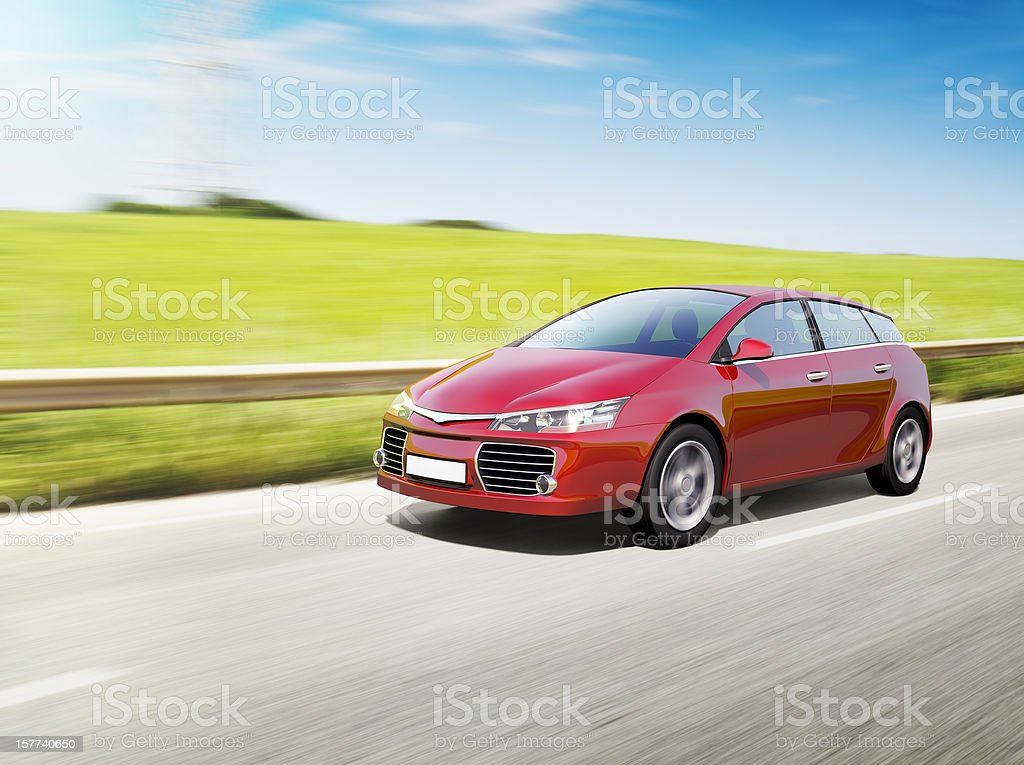 Speeding red car stock photo