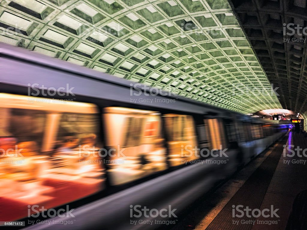 Speeding Subway Train stock photo