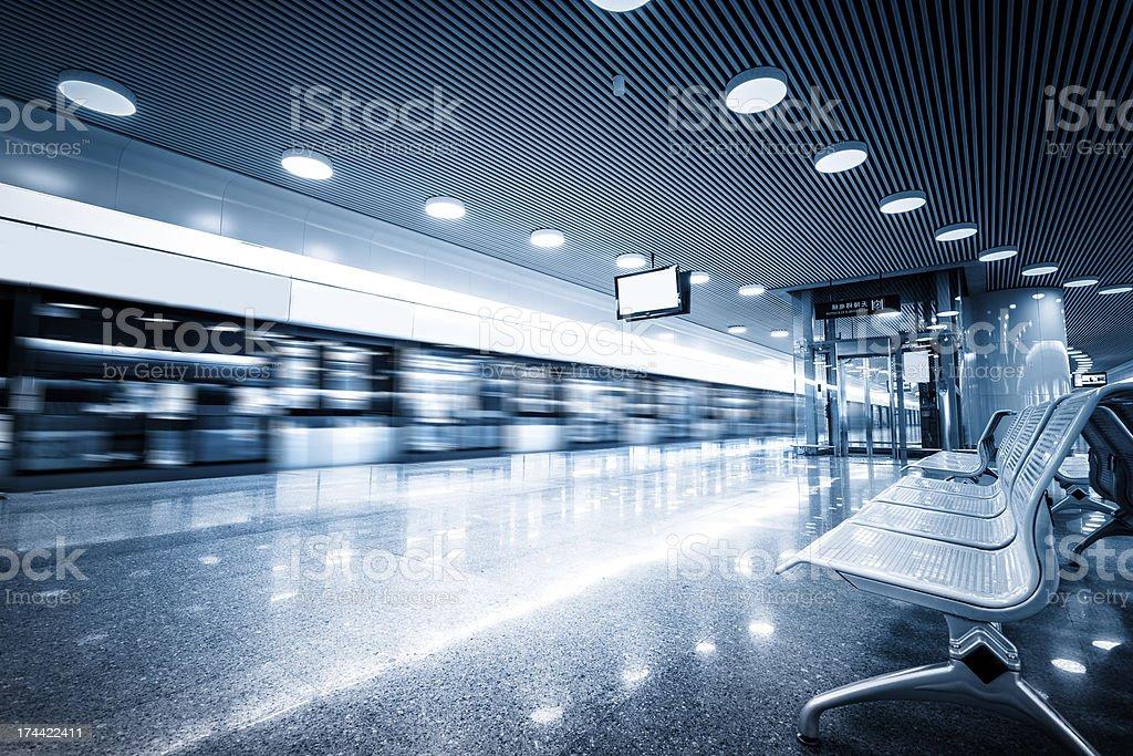 speeding subway with iron seats royalty-free stock photo