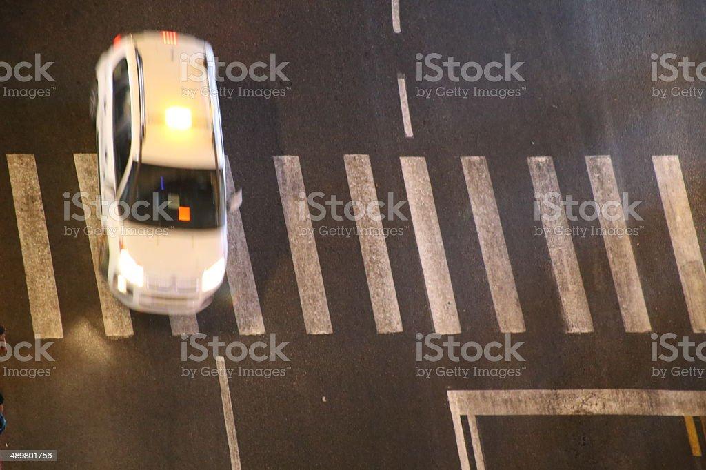 Speeding Taxi stock photo