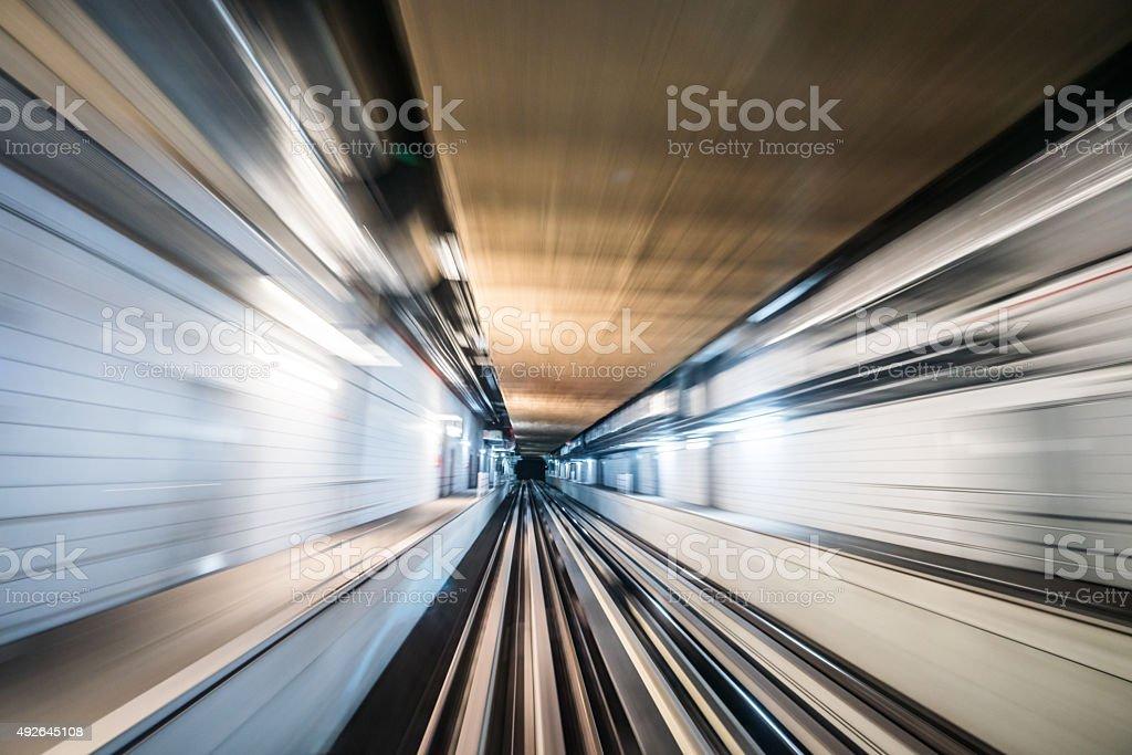 Speeding Through a Tunnel stock photo